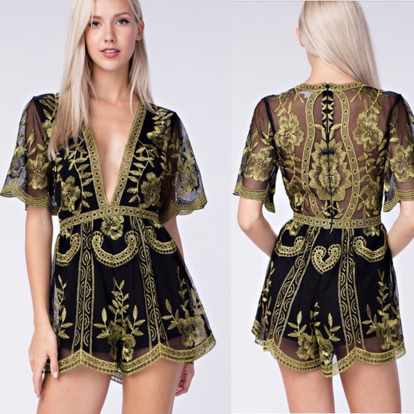 e4020370c61c Honey punch lace romper gold and black
